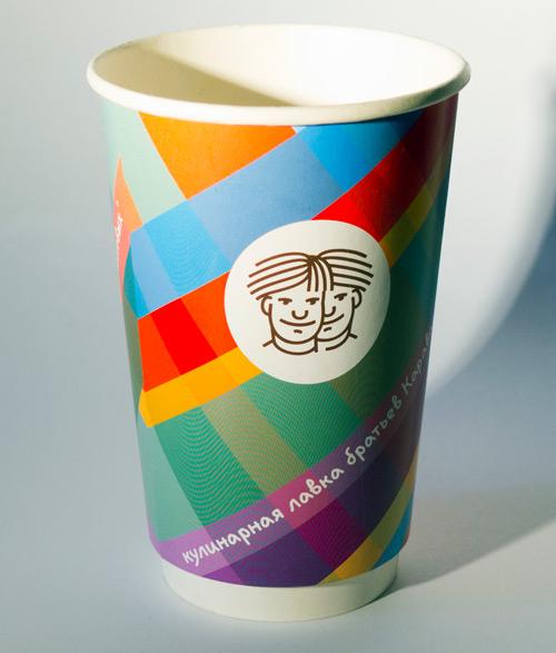 Печать на бумажных стаканах с логотипом заказчика